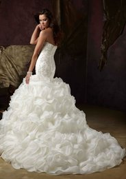 Wholesale Silk Organza Sweetheart Neck Wedding - Off-Shoulder Sweetheart Tulle Mermaid Wedding Dresses 2016 Luxury Lace Appliqued Sequined Wedding Gowns White Plus Size