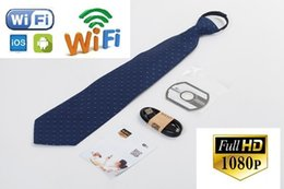 Wholesale Wireless Spy Mini Camera - HD 1080p Spy Necktie Camera Wireless WIFI Necktie Camera Body Worn Hidden Camera Mini Neck Tie Pinhole DVR