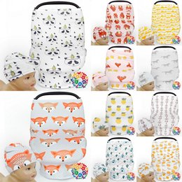 Wholesale Pram Covers - INS Baby Printed Car Cover +Hats Stroller Pram Canopy Multi-Use Stretchy Breastfeed Nursing Covers By Cover
