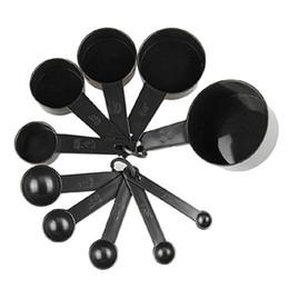 Wholesale black baking cups - Black Plastic Measuring Cups 10pcs lot Measuring Spoon Kitchen Tools Measuring Set Tools For Baking Coffee Tea