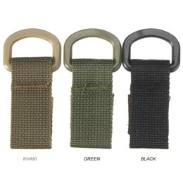 Wholesale Car Buckle Belts - Military Tactical Carabiner Nylon Strap Buckle Hook Belt Hanging Keychain D-Shaped Ring Molle System Black Green Khaki A284