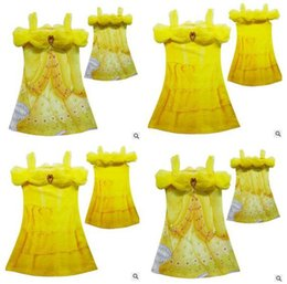 Wholesale Chinese Princess Girl Costume - 2017 Girls Dresses Beauty and Beast Belle Childrens Clothing Princess Dresses Printing Belle Cosplay Costume Princess Best Gift Dresses