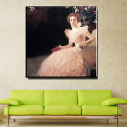 Wholesale Lady Abstract Oil Painting - ZZ730 famous canvas oil art paintings of Gustav Klimt Portrait of a Lady Hand painted canvas art High quality canvas prints art