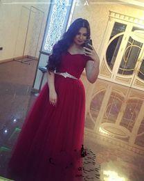Canada Arabie saoudite robes de bal rouge foncé avec ceinture en cristal élégant une ligne épaule large tulle plus la taille 2018 robes de soirée formelles arabe cheap crystal belt evening dress Offre