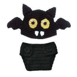 Wholesale Infant Knitted Costumes - Newborn Knit Bat Costume,Handmade Crochet Baby Boy Girl Bat Animal Beanie Hat and Diaper Cover Set,Infant Halloween Costume Photo Props
