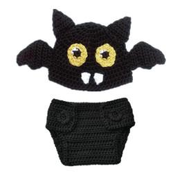 Wholesale Baby Bat - Newborn Knit Bat Costume,Handmade Crochet Baby Boy Girl Bat Animal Beanie Hat and Diaper Cover Set,Infant Halloween Costume Photo Props