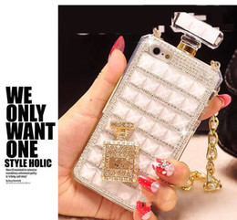 Wholesale Perfume Water - For iPhone6s Perfume Bottle Diamond Mobile Phone Case Lanyard Case 5S Rhinestone Mobile Phone Case with Opp Package