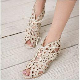 Wholesale Summer Sandal Bohemian Wedge Heels - Big Size 31-43 Fashion Cutouts Lace Up Women Sandals Open Toe Low Wedges Bohemian Summer Shoes Beach shoes women
