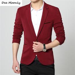 Wholesale Manteau Dresses - Wholesale- DEE MOONLY 2017 New Mens casual slim fit Blazer men wedding dress blazer jacket mens red suit jacket manteau homme