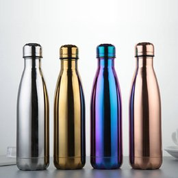 Wholesale Gold Water Bottles - Cola Shaped Bottle Purple Stainless steel Gold Rose Gold Insulated Double Wall Vacuum High-luminance Water Bottel Creative Thermos Bottle