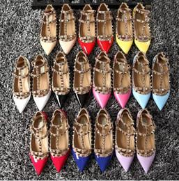 Wholesale Hongkong Shoes - free hongkong post! b001 34 40 41 genuine leather stud flat shoes luxury designer fashion women classic bloggers 2016