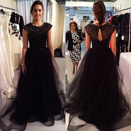 Wholesale Wrap Skirts For Cheap - 2017 Sparkly Black Crystal Beaded Evening Dresses For Women A Line Crew Plus Size Tulle Skirt Runway Cheap Formal Party Evening Wear Gowns