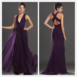 Wholesale Eggplant Long Bridesmaid Dresses - 2017 New Elegant Eggplant Chiffon Long Bridesmaid Dresses Deep V Neck Ruffles Cross Back Floor Length Party Prom Evening Dresses