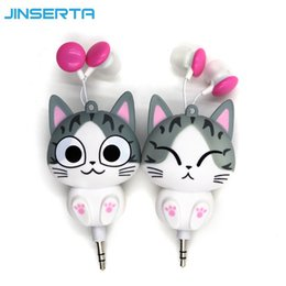Wholesale Voice Recorder Wholesale - Wholesale- Cute Earphone Cheese Cat Cartoon Automatic Retractable Headphones Mobile Phone Cartoon Sport Headphone Auriculares MP3 Player