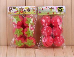 Wholesale Strawberry Soft Sponge Hair Curler - 6pcs Rollers Curlers Strawberry Balls Hair Care Soft Sponge Lovely DIY Hair Curler Tool Free Shipping