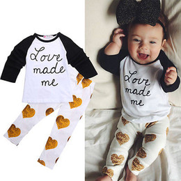 Wholesale Toddler T Shirt Pattern - Wholesale- 2Pcs Toddler Kids Baby Girls Clothes Outfits Letter Love Pattern Printed Full Sleeve T-shirt +Pants Set 0-4Y
