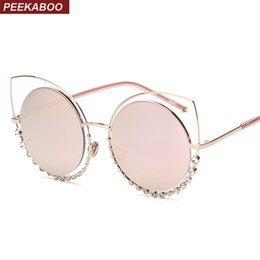 Wholesale Pink Rhinestone Sunglasses - Wholesale-Peekaboo luxury fashion rhinestone cat eye sunglasses female metal hollow ladies sun glasses for women cat eye pink gold