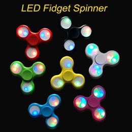 Wholesale Mini Finger Toys - LED Light fidget spinner Fingertips Spiral Fingers Spinner EDC Hand Spinner Acrylic Plastic Toys Gyro Toys with switch 3modes with box