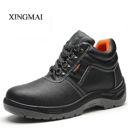 Wholesale Patent Leather Work Boots - Wholesale- 2016 Solid breathable anti-odor safety shoes male work shoes steel toe cap covering wear-resistant oil ankle men boots