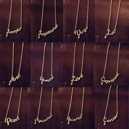 Wholesale Korean Ladies Sweater - New Fashion Jewelry 12 Zodiac Signs Letter Pendants Necklace Korean Women Ladies Chokers Sweater Chain Mix Wholesale free shipping