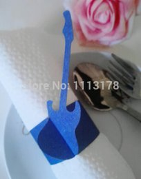 Wholesale Cheap Wholesale Napkin Rings - Wholesale- Cheap paper napkin ring napkin holder wedding guitar napkin holders buckles Wedding Party Decorations