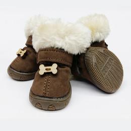 Argentina Cheap Winter Warm Pet Puppy Warm High Boot forma de hueso Decro Small Medium Dog Shoe color marrón cheap cheap large shoes Suministro