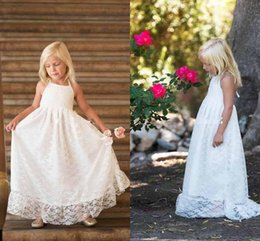 Wholesale Dres For Party - Full Lace 2017 Floor Length Flower Girls Dresses For Beach Summer Halter Neck A Line Girls Birthday Princess Party Gown First Communion Dres