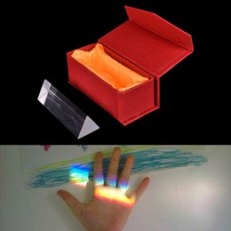 Wholesale Box Experiment - Wholesale- New 10CM Optical Glass Triple Triangular Prism Refractor Physics Experiment With a Decent Gift Box for Children Gift Wholesale