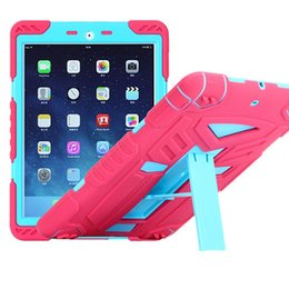 Wholesale Mini Ipad Cover Combo - Hybrid Combo Robot Design Kickstand Armor Case PC Silicone Full Protective Stander Cover For iPad 2 3 4 Air 2 Mini 1 2 3 Pro 9.7 OppBag