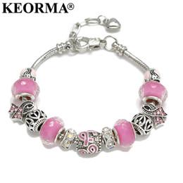 Wholesale Gold Murano Beads - Wholesale- KEORMA Pink Ribbon Charm Bracelet & Bangle for Women European Murano Glass Bead Adjustable Heart Chain Bracelet Fashion Jewelry