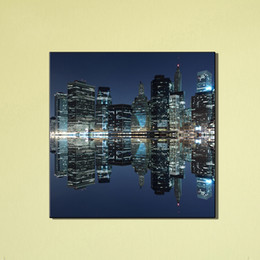 Wholesale Cheap Wall Art Paintings - Modern City Reflection Home Decor Cheap Unframed Wall Art Painting Canvas Art Printed Modular Picture For Living Room Decoration