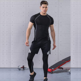 Wholesale Tight Short Sleeve White - 2017 summer new men's sports suit fitness suit three-piece fast-drying tights short sleeve