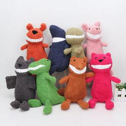 Wholesale Dinosaur Toy Pig - 80pcs 27cm Big Teeth Smiling cat pig dog crocodile dinosaur shark fox Stuffed Animals & Plush doll kids toys