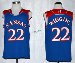 Wholesale New Hot 3x - Kansas Jayhawks College 22 Andrew Wiggins Jersey Shirt Home Blue Rev 30 New Material Wiggins Kansas Jayhawks Uniforms Hot Sale Men Size S-3X
