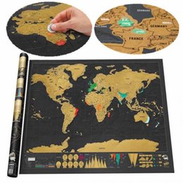 Wholesale Games Deluxe - 100pcs lot Top quality Novelty Games In Stock Deluxe Scratch Map Deluxe Scratch World Map 82.5 x 59.5cm free shipping