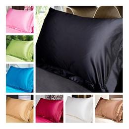 Wholesale black silk pillows - 2pcs set Pink Grey Black White Silk Pillow Cover Standard Single Pillowcase Solid Silk Pillow Case 48*74cm Free Shipping
