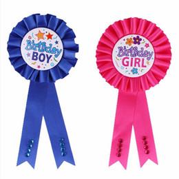 Wholesale Wholesale Awards - 2018 Delicate Girls Boys Award Ribbon Rosette Birthday Badge Pin Children Party Decoration Supplies