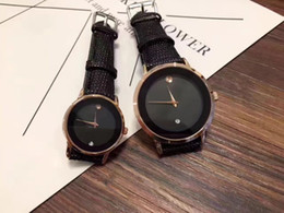 Wholesale Automatic Packing - Top brand luxury quartz couple watches fashion PU leather watch men's watches personality style perfect flawless 2pcs   pack