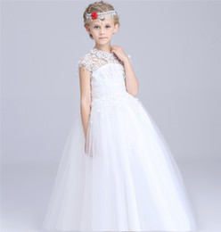 Wholesale Organza Vintage Flower Girl Dresses - 2017 Vintage Flower Girl Dresses Girls Wedding Dress Gowns Floor Length Lace White Organza Flower girl dresses for Wedding KD03