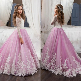 Wholesale Christmas Model Girl - Long Sleeves Lace Flower Girls Dresses For Weddings 2017 Jewel Appliques Light Purple Pageant Dresses for Girls Child Formal Wear Gowns