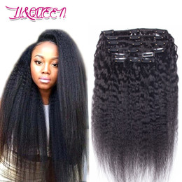 Wholesale Malaysian Hair Clips - Malaysian Kinky Straight Human Hair Clip In Hair Extensions Natural Black Unprocessed Beauty Weaves From Li&queen