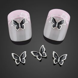 Wholesale Glitter Butterflies Decorations - Wholesale- Beauty Black Butterfly Nail Art Decorations Alloy 3d Nail Charms Jewelry Glitter Alloy Nails Tools Free Shipping