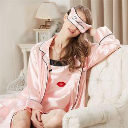 Wholesale Cute Pajamas Dress - Wholesale- Women nightgowns Sexy Robes Sleepwear+cute Pajamas pajama bata mujer sexy nightgown robe Dress Rayon Silk Babydoll 3 Piece suit