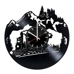 Wholesale Unique Ideas - Big Train Design Vinyl Record Wall Clock - Get unique kids rooom or bedroom wall decor - Gift ideas for his and her