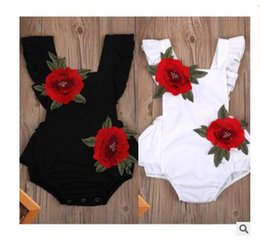 Wholesale Children Girl Flower Jumpsuit - Newborn Baby Romper Girl Clothes s Flower Embroidery Sleeveles Infant Clothing for Newborns Children Jumpsuits Rompers DHL Free Shipping