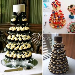 Wholesale Acrylic Cupcake - Wholesale-6 Tier Crystal Acrylic Heart Cupcake Stands for Wedding Birthday Party Cake Display Decoration