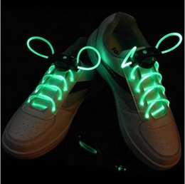 Wholesale Flash Families - 30pcs(15 Pairs) Colorful LED Shoelaces EL Wire Glow Stick light up shoes Cool Fashion Flash Skating Luminous Shoe Strings with button batter