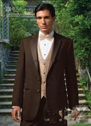 Wholesale Best Selling Groom Tuxedos - Best selling Chocolate Blazer Notch Lapel Groom Tuxedos Groomsmen Best Man Suit Men Wedding Suits (Jacket+Pants+Vest+Tie) A:119