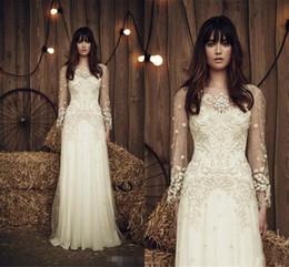 Wholesale Simple Flower Sash - 2017 New Jenny Packham Wedding Dresses Crew Neck Long Sleeve Beads Bridal Gowns Sweep Train Chiffon Wedding Dress Custom Made
