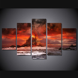 Wholesale Volcano Digital - 5 Pcs Set Framed HD Printed Mountains Volcano Sea Ocean Picture Wall Art Canvas Print Decor Poster Canvas Modern Oil Painting